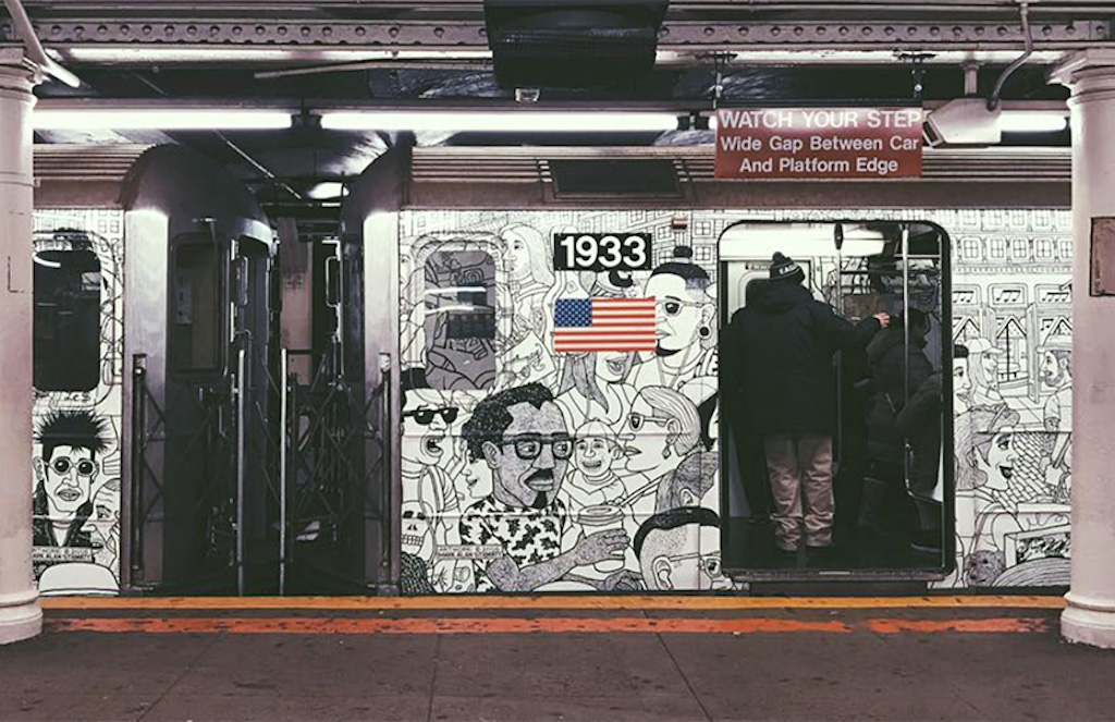 Subway train mural in NYC