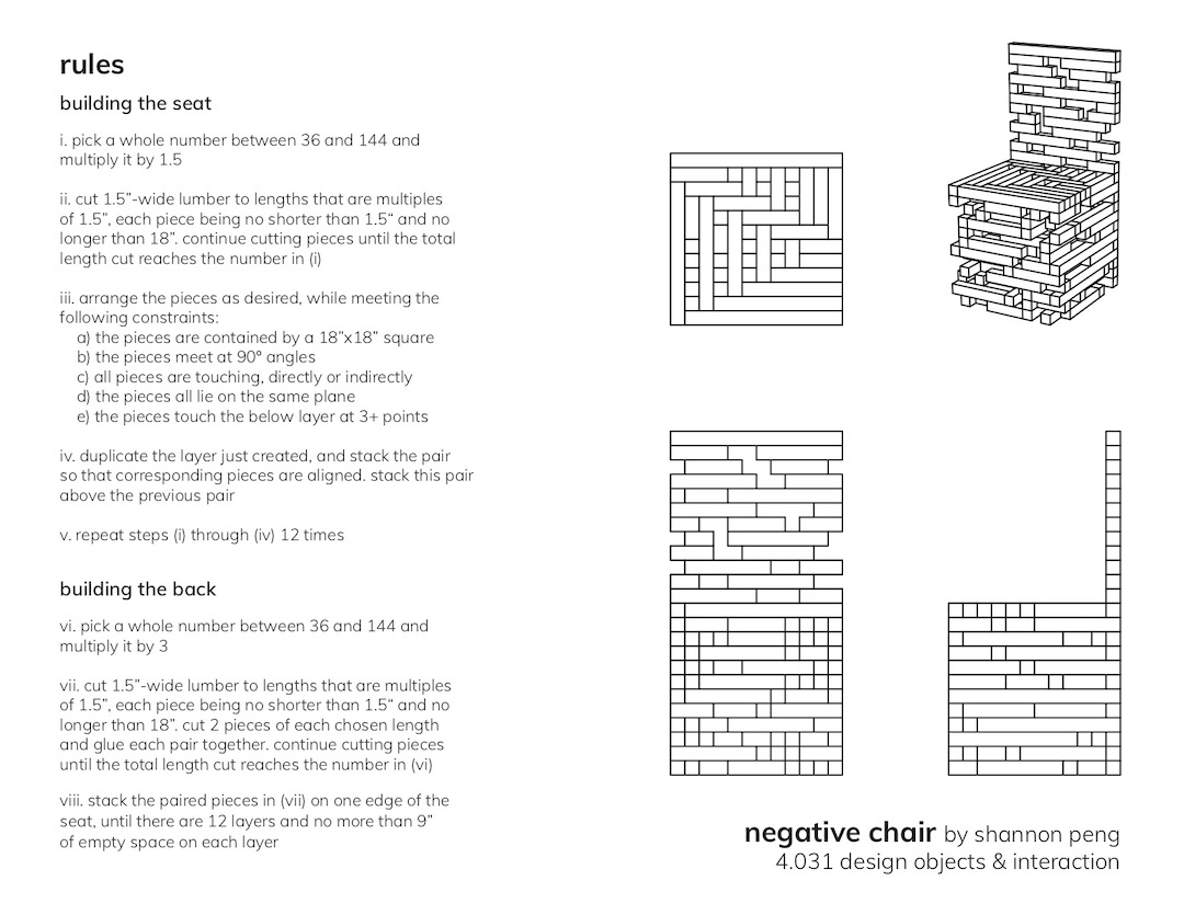 Concept sketch: Jenga chair typed rules